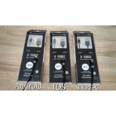 Магнитное зарядное устройство для ANDROID, IOS и TYPE-C от компании X-CABLE