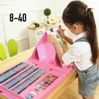 Художественный набор для рисования розовый и синий 176 предметов
