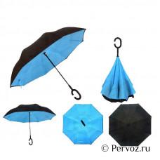 Зонт - наоборот «Однотонный», механический, 8 спиц, R = 53 см.