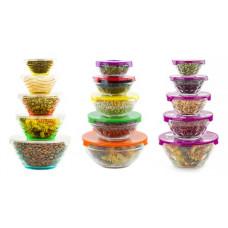 Набор салатников стеклянных с крышками 5шт